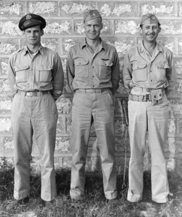 The picture shows (l.-r.) Capt. James Ritter, Lt. Frank Mullinax, and Capt. Gordon Abbingdon