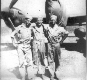 """Moose"" Clareman, Maurice Weiner, Dause (Dawes?) (After the war, Weiner changed his name to Lanes)"