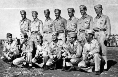 "Members of the 14 FG in North Africa Front row (far left) Jerome LaScotte; back row (far left) Rupert ""Sparky"" Sparks"