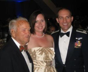 "WWII fighter ace Jack Lennox with our host Capt ""Flex"" DeRosa and his wife Tiffany."