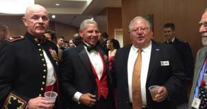 Bob Elliott with Marine Corps Colonel and Navy Captain pilots