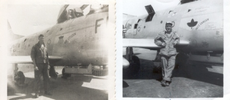 Note the names on the two planes - on the left 'Miss Citizen'. On the right-'Miss Canuck' They are Staff McDougall's plane, one before he became an American citizen and one after. That's Staff on the left and Don Findlay on the right