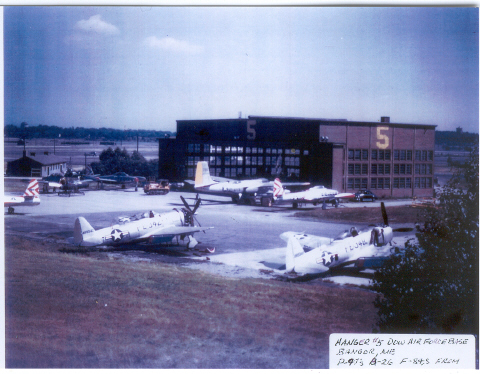 Hangar at Dow. Note: P-47s, B-26, and F-84s. The changing of the guard has begun.