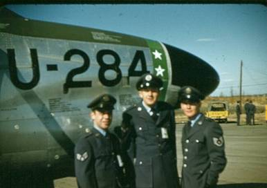 "All dressed up on the flight line? L-R: Unknown, Walter ""The Spider"" Markot, Tom Morrissey."