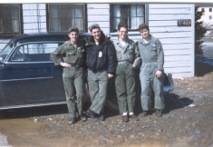 Don Harbert, Gary Ferrol, Joe Skurka, and 'Hagar' Ray Fratus outside the Dayroom